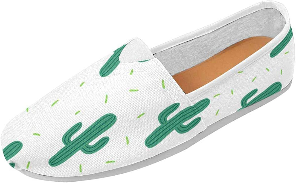 INTERESTPRINT Simple Cactuses Women's Comfort Slip-on Loafers