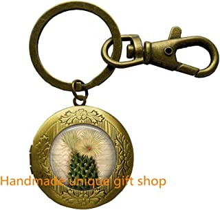 Cactus Locket Keychain Cactus Flower Desert Southwest Nature Art Locket Key Ring in Bronze or Silver with Link Included.TD062