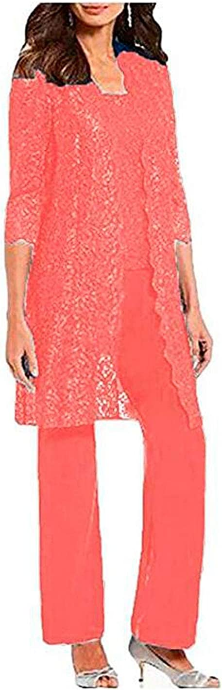 3 PC Lace Women Outfits with Jacket Half Sleeves Mother of The Bride Pants Suits Chiffon Formal Evening Gowns