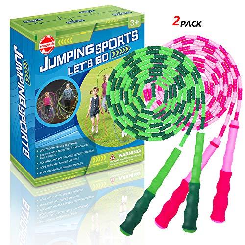 Kinder Fitness Equipment Springseil für Mädchen und Jungen, verstellbares Segmentiertes Seil, Pink und Grün, 2 Stück