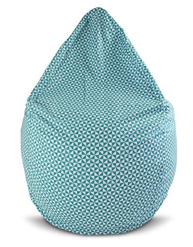 Joyfill Sitzsack mit Bezug, Stuhl für Kinder und Erwachsene, Weicher Stoff, 240L groß - 5023 Geometrie Türkis