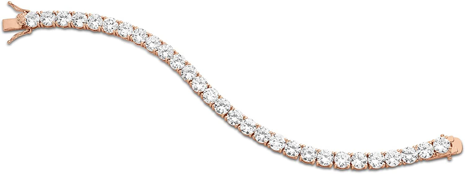 KEZEF Creations Gold or Silver Plated Round 6mm Cubic Zirconia Tennis Bracelet