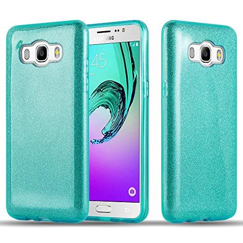 Cadorabo Hülle für Samsung Galaxy J5 2016 - Hülle in Sternenstaub TÜRKIS – TPU Silikon & Hardcase Handyhülle im Glitzer Design - Hard Hülle TPU Silikon Schutzhülle