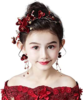 RKY Ragazze Corona, for bambini Copricapo Rosso Capolino tornante Garland Bambina Accessori Capelli principessa ragazza gi...