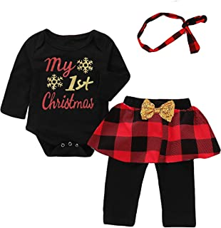 Mutiggee My First Christmas Outfit Baby Girls Xmas Plaid Pant Clothing Sets