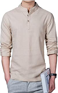 Mogogo Men's Long Sleeve New Style Solid Pullover Blouse Shirt Tops
