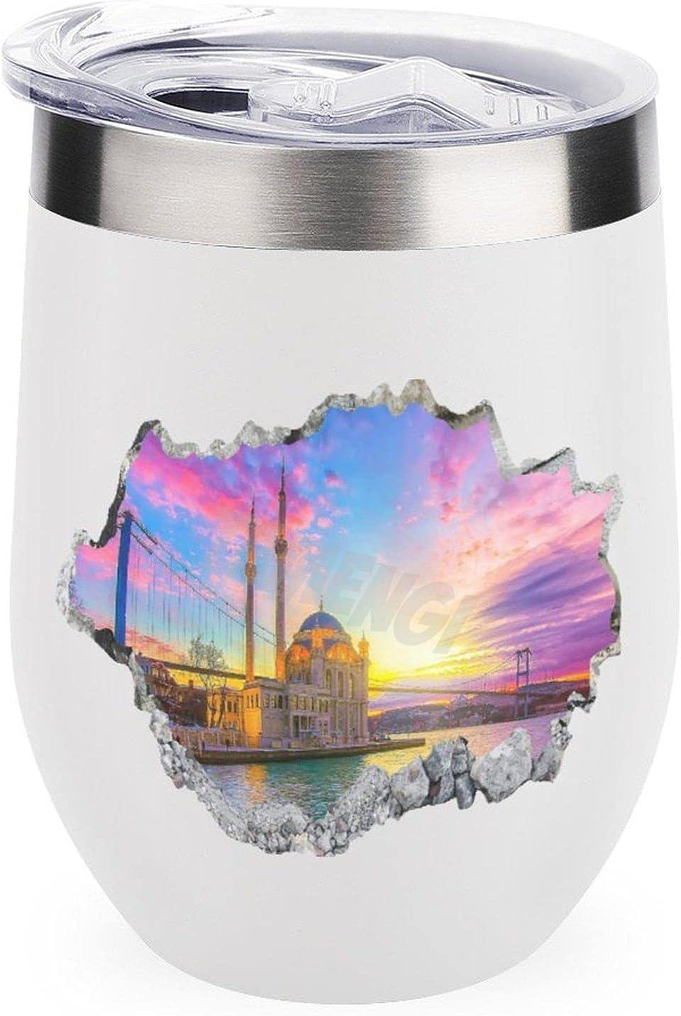 Vaso de viaje para café, vino, cócteles, tapa de helado para acampar al aire libre, taza de vino de Estambul de 12 onzas con tapa