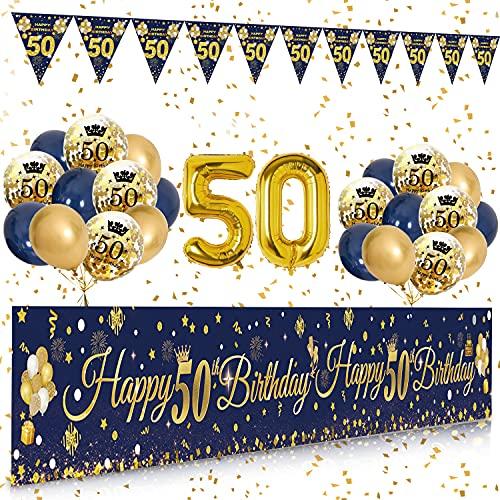 Palloncini 50 anni Compleanno Striscione Navy Blu Oro, 50 anni di Compleanno Decorazioni Striscione Sfondo, Compleanno 50 anni Addobbi, 50 anni Decorazioni Compleanno kit Feste per Uomo e Donna