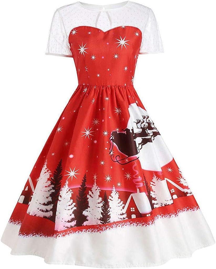 Plus Size Indefinitely Overseas parallel import regular item Christmas Dress for Women Vintage Mesh Xm Sleeve Short
