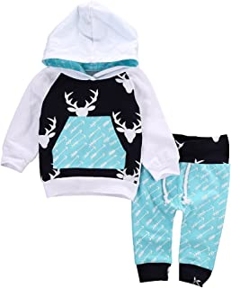 Toddler Infant Baby Boy Long Sleeve Outfits Deer Hoodie Tops and Pant Sets