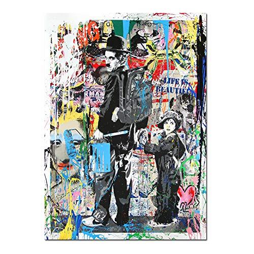 ZSLMX Arte Pop Moderno Lienzo De Pintura Charlie Chaplin Colorido Graffiti Banksy LáMinas ArtíSticas El NiñO Pintura Al óLeo Arte Moderno La Pared Posters Living Room Decor Kids para El Hogar,50x75cm