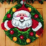 Beyond Your Thoughts 2021 New Christmas Santa Latch Hook Kits for DIY Shaggy Throw Pillow Cover Sofa Cushion Cover with Pattern Printed