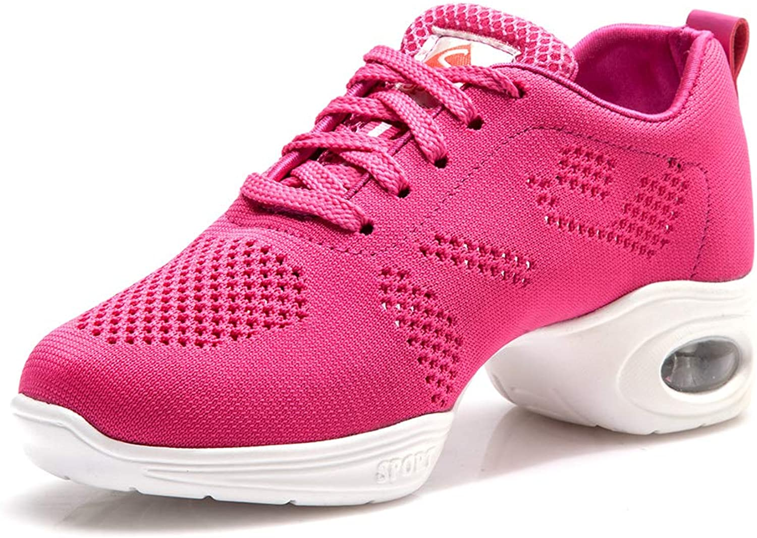 HIPPOSEUS Womens Boost Mesh Split Sole Jazz shoes Lace Up Comfortable Dance Sneakers for Girls,Model T19A