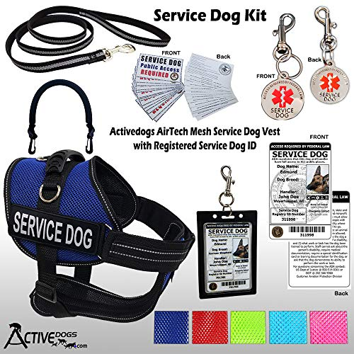 Activedogs Service Dog Kit Airtech Mesh Service Dog Vest Harness + Free Registered Service Dog ID + Clip-on Bridge Handle + 30 ADA/Federal Law Cards + Service Dog Travel Tag (M, Blue)