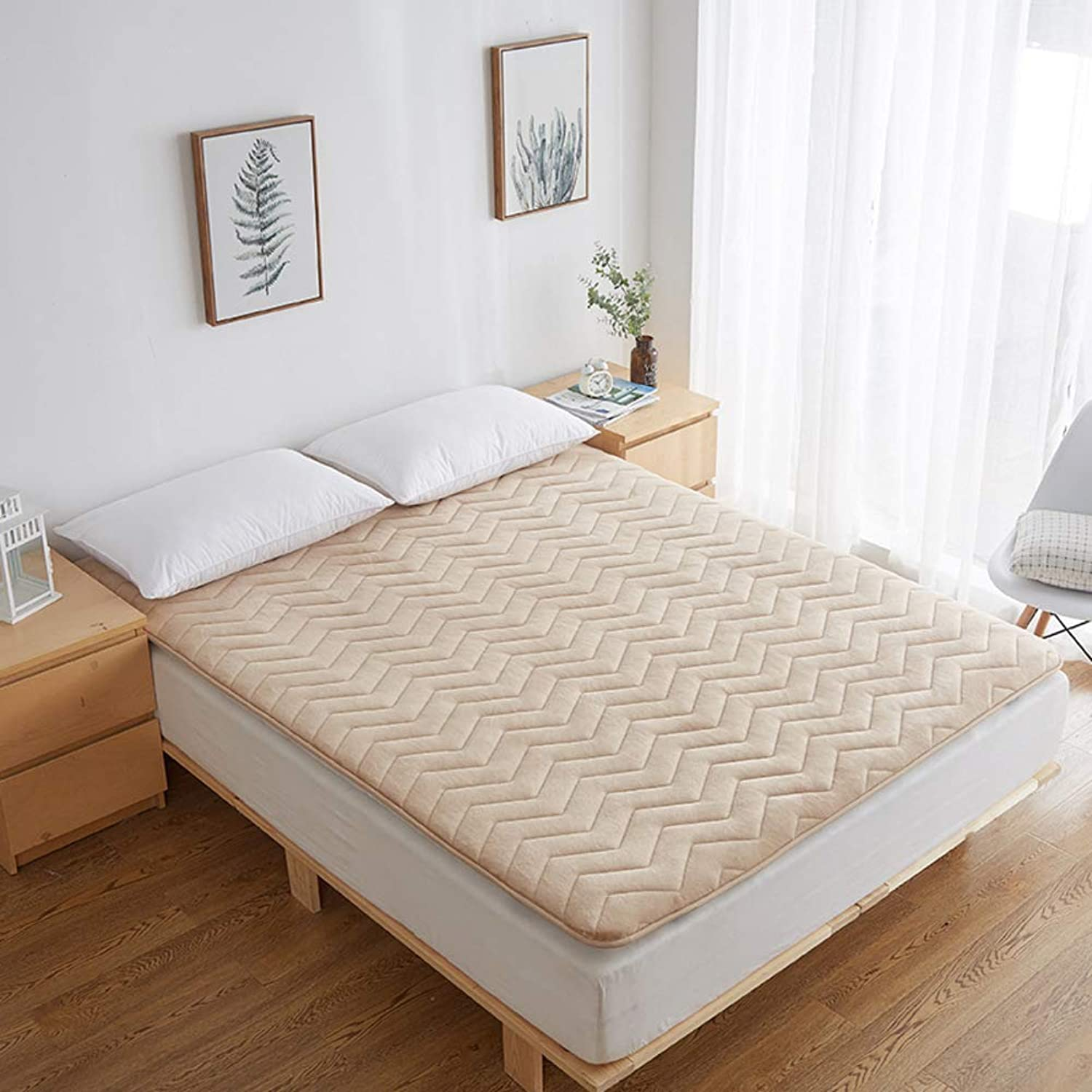 Solid color Flannel Mattress,Warm Thermostat Foldable Non-Slip Thickening Quilted Mattress Topper for Tatami Mattress-B 120x200cm(47x79inch)