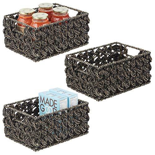 mDesign Juego de 3 cestas organizadoras para armario o estante – Canasta trenzada de junco marino y alambre de metal – Cesto extraíble con asas para baño, cocina, etc. – 22,9 x 30,5 x 15,2 cm – negro