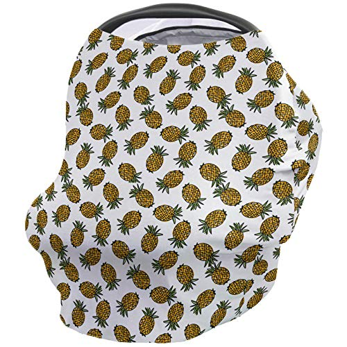 Best Bargain Baby Nursing Cover Breastfeeding Cover Soft Breathable Chemical-Free 360° Coverage, Tropical Fruit Nursing Cover for Breastfeeding Protection – Pineapples on Stripe Background Simple Design