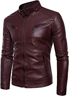 Mens Faux Leather Jacket Bomber,Men's Faux Leather Motorcycle Riding Jacket