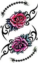 TAFLY تصميم وردة حمراء ثلاثية الأبعاد للنساء ضد الماء - ملصقات الوشم المؤقت للساق والوشم المزيف المظهر الحقيقي للنساء 5 ورقات