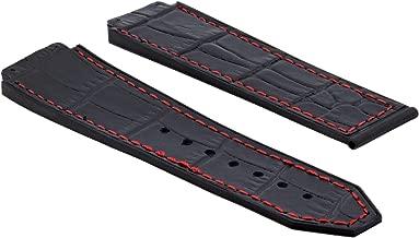 24MM ALLIGATOR LEATHER RUBBER BAND STRAP CLASP FOR HUBLOT H BIG BANG BLACK RED S