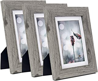 Scholartree Grey Wooden 5x7 Picture Frame 3P or 8x10 inches 2P or 11x14 2P (Style 2, 5x7 inches 3P)