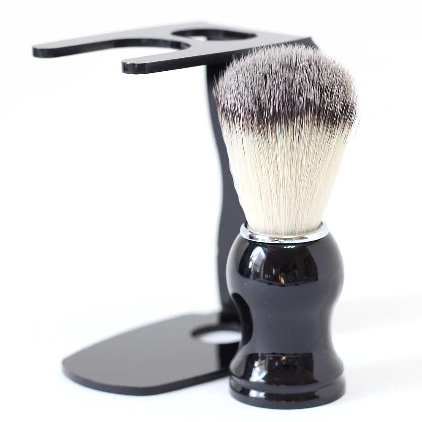 として事前電球【Barsado】泡立ちが違う 100% アナグマ 毛 シェービング ブラシ スタンド付き/理容 洗顔 髭剃り マッサージ 効果