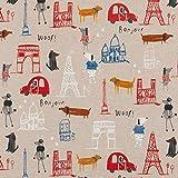Hans-Textil-Shop Stoff Meterware Bonjour Woof! - 1 Meter,