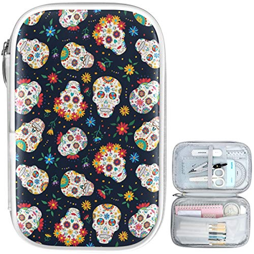 Oarencol Vintage Sugar Skull Pencil Case Colorful Flowers Zipper Pen Bag Large Capacity Cosmetic Pouch Stationery Box