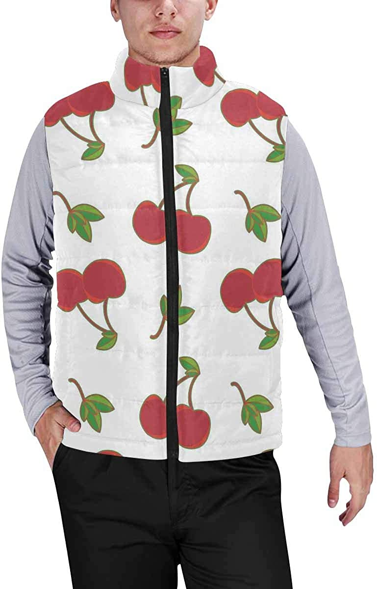 InterestPrint Men's Outdoor Casual Stand Collar Sleeveless Jacket Rainbow Fish Swimming in Coral Reefs