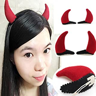 2 Pairs Halloween Gothic Cosplay Costume Red Devil Horn Clip-on Hair Clip Accessory Hairpin