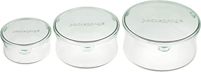 iwaki(イワキ) 耐熱 ガラス 保存容器 丸型 パック&レンジ 3点セット グリーン 380ml × 1個 / 840ml × 1個 / 1300ml × 1個 AZB-PRN-G3