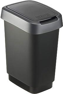 comprar comparacion Rotho Twist, Cubo de basura de 10 litros con tapa, Plástico PP sin BPA, negro, plateado, 10l 24.8 x 18.1 x 33.0 cm