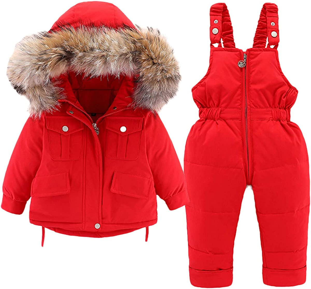 Baby Boys Girls Kids Hooded Artificial Fur Down Jacket Coat and Ski Bib Pants Snowsuit Winter Outfit Sets