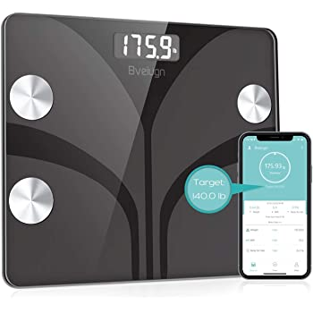 Body Fat Scale, Smart Wireless Digital Bathroom BMI Weight Scale, Body Composition Analyzer Health Monitor with Tempered Glass Platform Large Digital Backlit LCD with Smartphone App