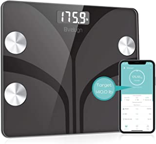Body Fat Scale, Smart Wireless Digital Bathroom BMI Weight Scale, Body Composition Analyzer Health Monitor with Tempered Glass Platform Large Digital Backlit LCD with Smartphone App (Black)