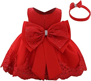 Baby Girls Formal Dress Lace Bowknot Baptism Embroidery Princess Birthday Wedding Flower Tutu Gown with Headwear