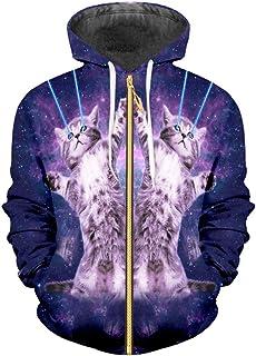 b59d14e74b69 Zip Hoodies Loose 3D Pullover Printed Starry Sky Cat Streetwear Big Size  Garment Unisex Winter Sweatshirts
