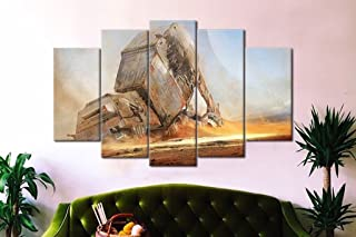 5pcs Framed Starwars Fallen AT-AT Canvas Prints–5Piece Canvas AT-AT Artwork Canvas Star Wars Paintings on canvas wall Art for Office and Home Wall Decor, 20*35cm*2+20*45cm*2+20*55cm*1
