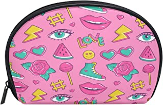 ALAZA Sexy Lips Half Moon Cosmetic Makeup Toiletry Bag Pouch Travel Handy Purse Organizer Bag for Women Girls