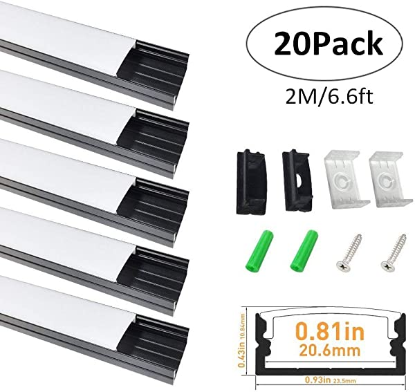 LightingWill 20 Pack U Shape LED Aluminum Extrusion 6 56ft 2M Anodized Black Track For 20mm Width SMD3528 5050 LED Strips Installation With Oyster White Cover End Caps And Mounting Clips U04B20