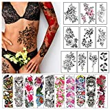 Cerlaza-20 Sheets Temporary Tattoo Sleeves for Women Adults, Full Arm Sleeve Temporary Fake Tattoo Stickers, Semi Permanent Sleeve Tattoos Leg Makeup Waterproof Realistic