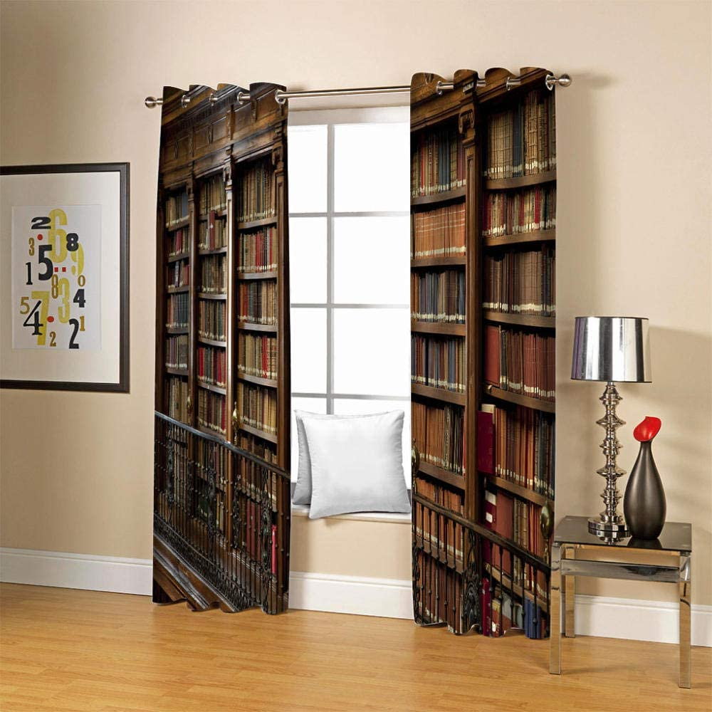 ZCLCHQ Kids Curtains Retro Bookshelf Indianapolis Mall Free shipping Living Windo Bedroom Room