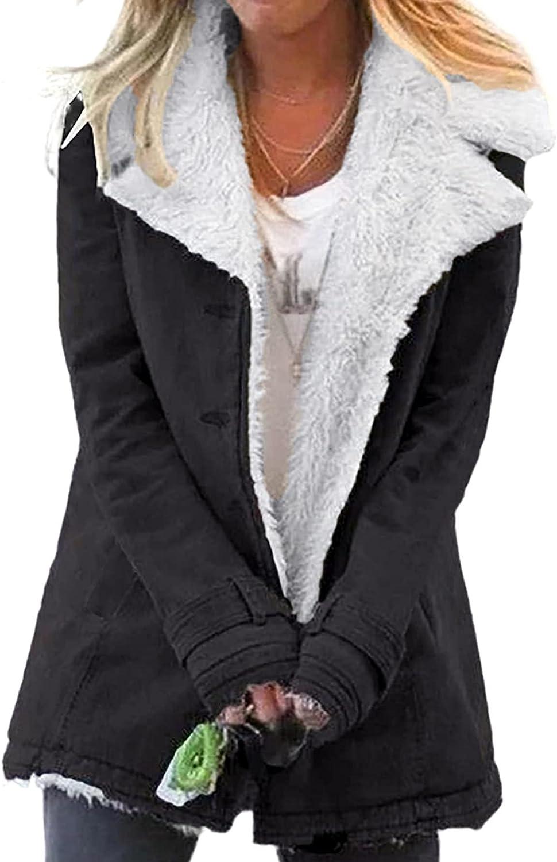 Happy Sailed Women's Lapel Sherpa Fleece Lined Denim Jacket Winter Button Down Warm Coat Outerwear S-2XL