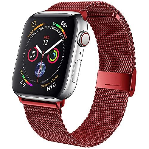 Voshion Correa para Apple Watch Band 42 mm 38mm Acero inoxidable Correa de metal Milanese Loop pulsera para iWatch Series 5 4 3 2 1 se 6 40mm 44mm (38 o 40mm rojo)