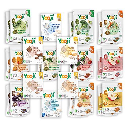 Yooji - Panier Complet Bio Légumes Fruits Viandes et Poissons Bio pour le Repas de Bébé de 9 à 12 Mois - Alimentation Saine et Équilibrée - Saveur Viandes Poissons Fruits Légumes pour 60 Repas