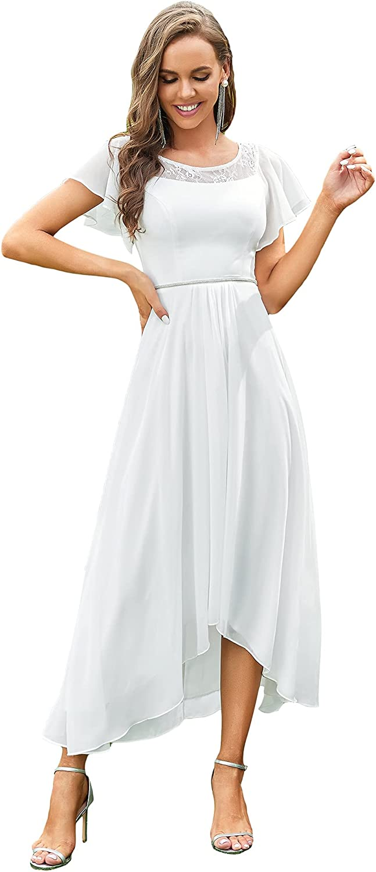 Ever-Pretty Women's Elegant A-line Short Sleeve High Low Chiffon Midi Bridesmaid Dress 0465