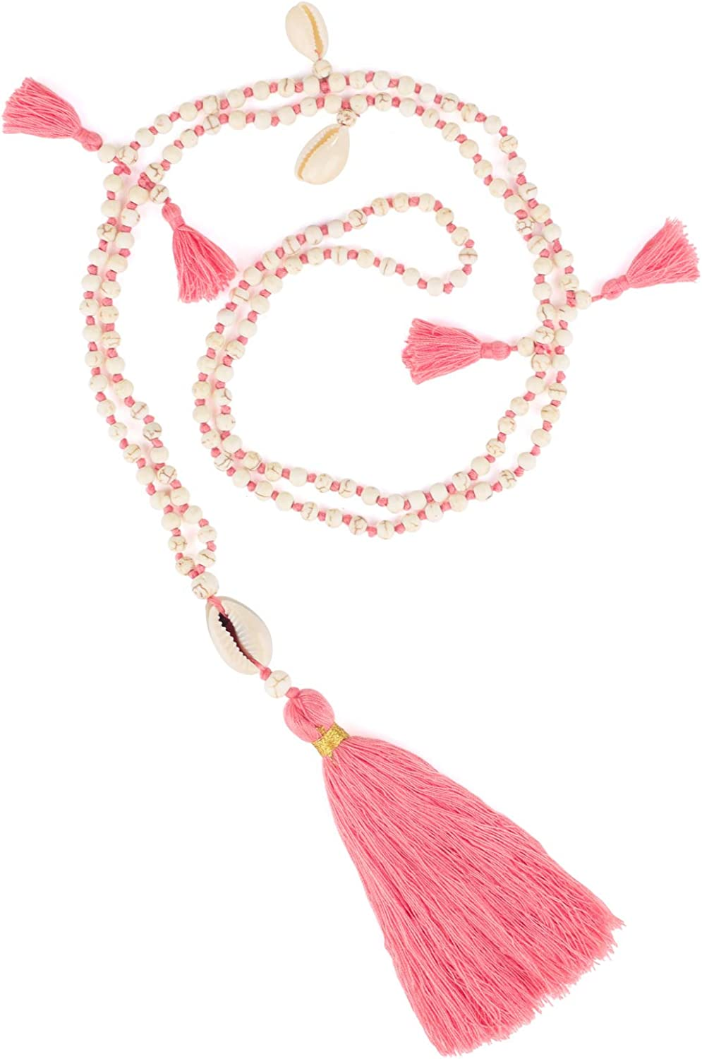 KELITCH Long Tassel Pendant Necklace Handmade Bohe Tiered Layered Shell Charm Y Necklaces Nice Gift for Women, Girls Pink