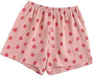 Pantalones cortos de dormir de algodón Loungewear para mujer Pantalones cortos de pijama para verano - Fresa