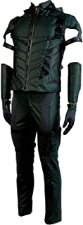 Men's Halloween Green Costume Arrow Season 4 Oliver Queen Cosplay Costume Leather Outfit(No Quiver)