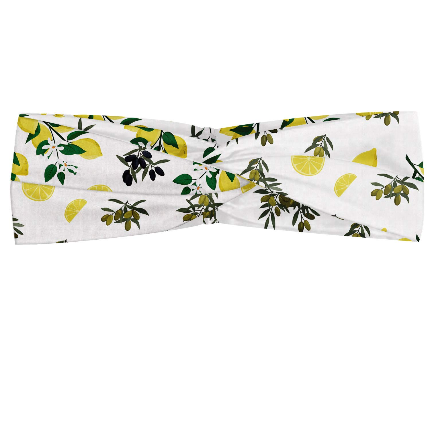 Ambesonne Botanical Headband, Composition of Olives and Lemons on Trees Organic Life, Elastic and Soft Women's Bandana for Sports and Everyday Use, Pastel Yellow Green